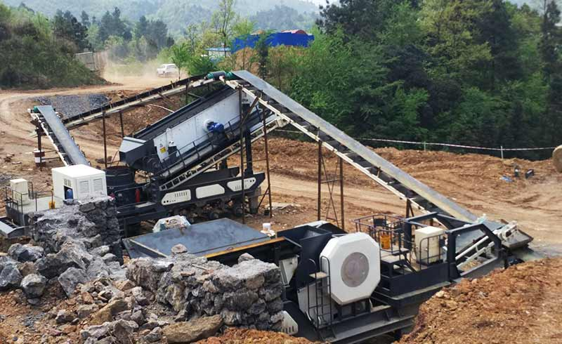 mobile crushing station production site